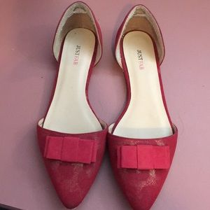 Lightly worn red with gold shimmer shoes